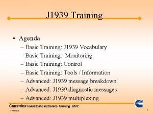 J 1939 Training Agenda Basic Training J 1939