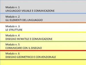 Modulo n 1 LINGUAGGIO VISUALE E COMUNICAZIONE Modulo