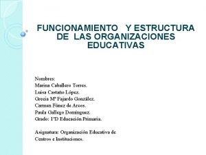 FUNCIONAMIENTO Y ESTRUCTURA DE LAS ORGANIZACIONES EDUCATIVAS Nombres