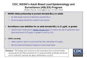 CDC NIOSHs Adult Blood Lead Epidemiology and Surveillance