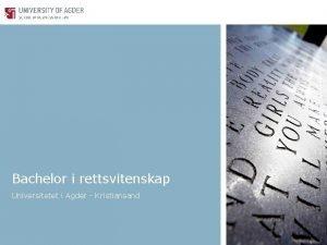 Bachelor i rettsvitenskap Universitetet i Agder Kristiansand Bachelor