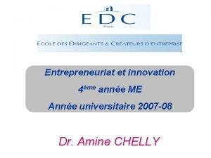 Entrepreneuriat et innovation 4me anne ME Anne universitaire