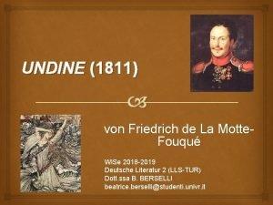 UNDINE 1811 von Friedrich de La Motte Fouqu