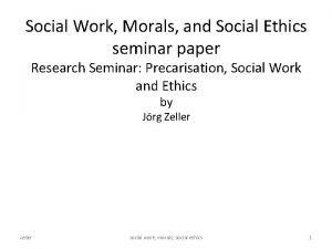 Social Work Morals and Social Ethics seminar paper