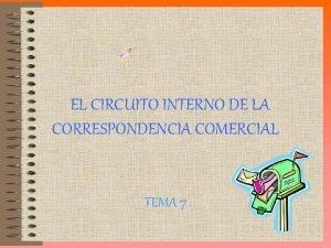 EL CIRCUITO INTERNO DE LA CORRESPONDENCIA COMERCIAL TEMA