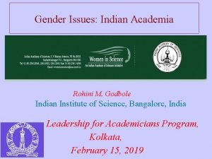 Gender Issues Indian Academia Rohini M Godbole Indian