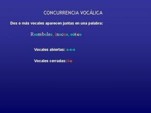 CONCURRENCIA VOCLICA Dos o ms vocales aparecen juntas