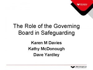 The Role of the Governing Board in Safeguarding