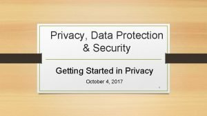 Privacy Data Protection Security Getting Started in Privacy