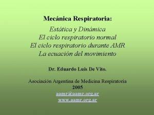 Mecnica Respiratoria Esttica y Dinmica El ciclo respiratorio