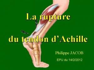 La rupture du tendon dAchille Philippe JACOB EPU