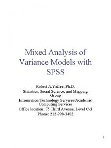 Mixed Analysis of Variance Models with SPSS Robert