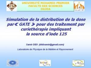UNIVERSIT MOHAMED PREMIER FACULTE DES SCIENCES OUJDA Simulation