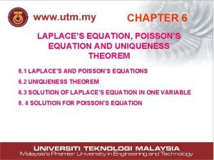 CHAPTER 6 LAPLACES EQUATION POISSONS EQUATION AND UNIQUENESS