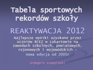 Tabela sportowych rekordw szkoy REAKTYWACJA 2012 Najlepsze wyniki
