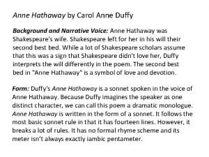 Anne Hathaway by Carol Anne Duffy Background and
