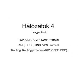 Hlzatok 4 Lengyel Zsolt TCP UDP ICMP IGMP