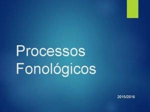Processos Fonolgicos 20152016 Processos fonolgicos Insero adio Supresso