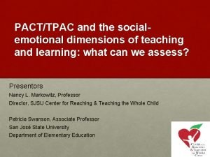 PACTTPAC and the socialemotional dimensions of teaching and