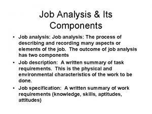 Job Analysis Its Components Job analysis The process