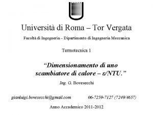 Universit di Roma Tor Vergata Facolt di Ingegneria