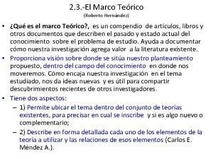 2 3 El Marco Terico Roberto Hernndez Qu