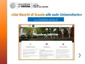 Dai Banchi di Scuola alle aule Universitarie http