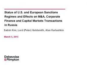 Status of U S and European Sanctions Regimes