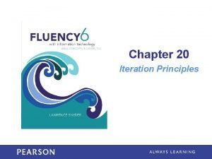 Chapter 20 Iteration Principles Learning Objectives Trace the