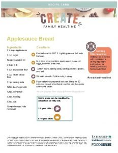RECIPE CARD Applesauce Bread Ingredients Directions 1 cups
