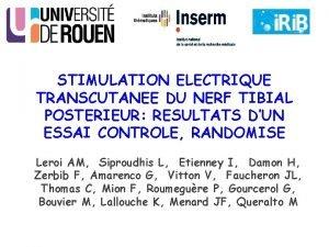 STIMULATION ELECTRIQUE TRANSCUTANEE DU NERF TIBIAL POSTERIEUR RESULTATS
