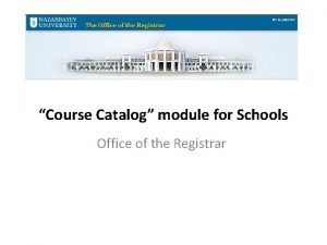 Course Catalog module for Schools Office of the