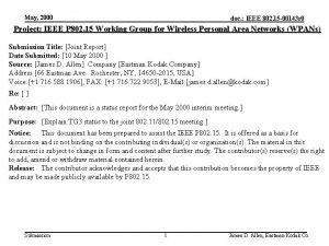 May 2000 doc IEEE 802 15 00143 r