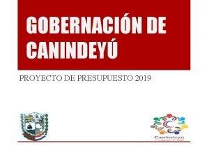 GOBERNACIN DE CANINDEY PROYECTO DE PRESUPUESTO 2019 VISIN