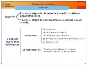 Economa 2 Bachillerato Inversin Financiacin e Inversin Econmica