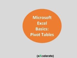 Microsoft Excel Basics Pivot Tables e Xcelerate Pivot