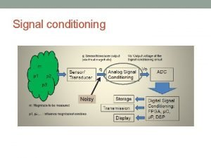 Signal conditioning Noisy Key Functions of Signal Conditioning