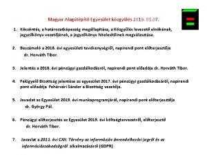 Magyar Alagtpt Egyeslet kzgyls 2019 03 07 1