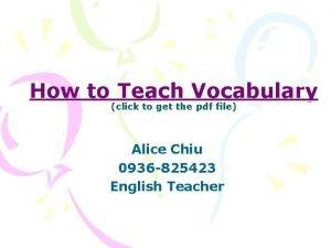 How to Teach Vocabulary click to get the
