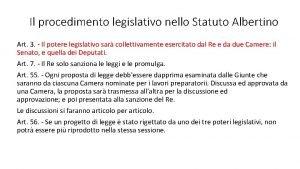 Il procedimento legislativo nello Statuto Albertino Art 3