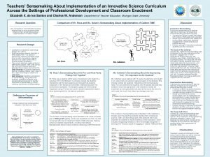 Teachers Sensemaking About Implementation of an Innovative Science