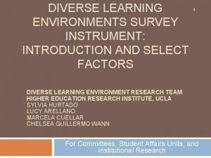 DIVERSE LEARNING ENVIRONMENTS SURVEY INSTRUMENT INTRODUCTION AND SELECT