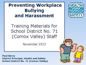 Preventing Workplace Bullying and Harassment Training Materials for