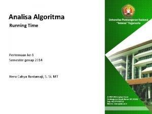 Analisa Algoritma Running Time Pertemuan ke1 Semester genap
