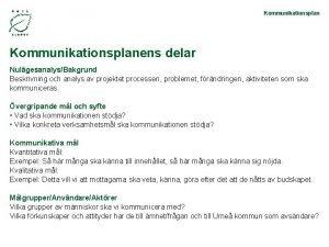 Kommunikationsplanens delar NulgesanalysBakgrund Beskrivning och analys av projektet