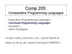 Comp 205 Comparative Programming Languages Imperative Programming Languages