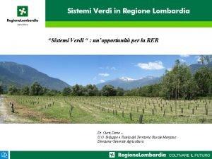 Sistemi Verdi unopportunit per la RER Dr Curti