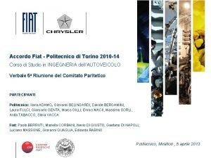 Accordo Fiat Politecnico di Torino 2010 14 Corso