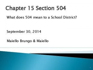 Chapter 15 Section 504 What does 504 mean