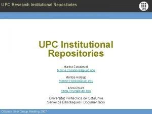 UPC Research Institutional Repositories UPC Institutional Repositories Marina